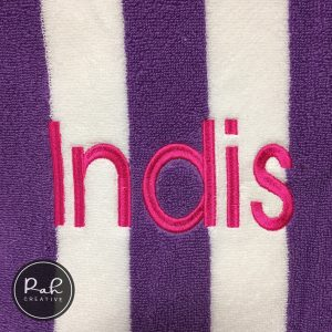 Purple striped towel