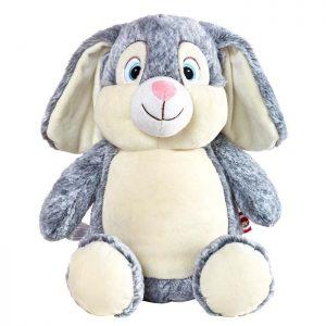 personalised embroidery cubbie teddy bear baby kids keepsake toy grey easter fluffy bunny rabbit