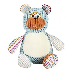 personalised embroidery cubbie teddy bear baby kids keepsake toy harlequin patchwork spotted check fabric bear