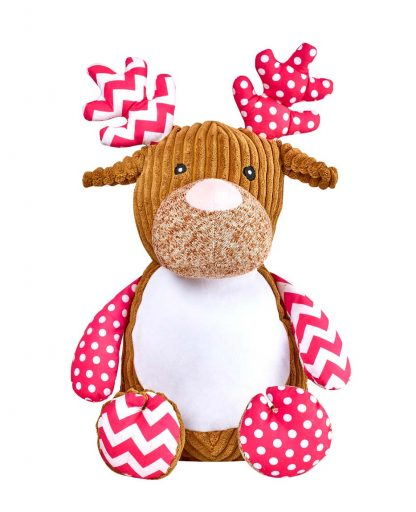 personalised embroidery cubbie teddy bear baby kids keepsake toy gift pink and white spot spotted fabric girls harlequin deer