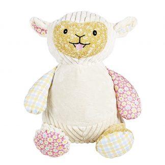 personalised embroidery cubbie teddy bear baby kids keepsake toy patchwork vintage fabric harlequin lamb sheep
