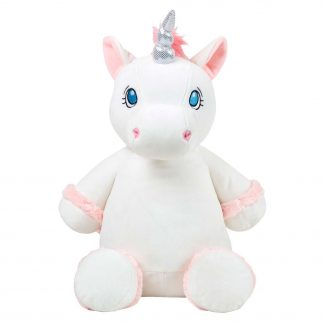 personalised embroidery cubbie teddy bear baby kids keepsake toy gift white pink unicorn