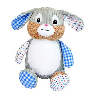 personalised embroidery cubbie teddy bear baby kids keepsake toy harlequin patchwork bunny rabbit